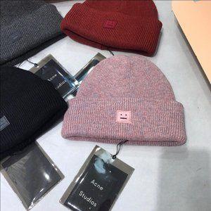 Acne Studios Rib Knit Beanie Hat - Pink+Purple